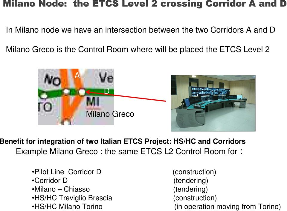 Project: HS/HC and Corridors Example Milano Greco : the same ETCS L2 Control Room for : Pilot Line Corridor D (construction)