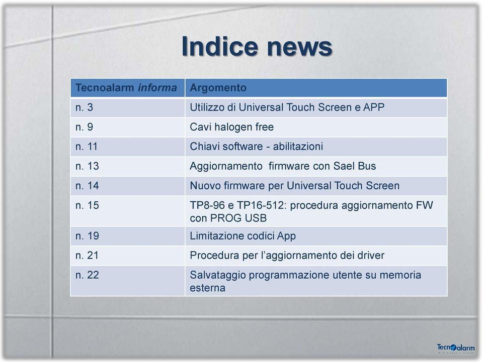 14 Nuovo firmware per Universal Touch Screen n.