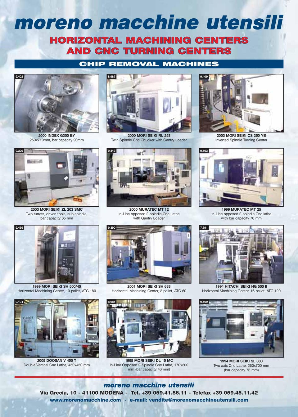 103 2003 MORI SEIKI ZL 203 SMC Two turrets, driven tools, sub spindle, bar capacity 65 mm 2000 MURATEC MT 12 In-Line opposed 2-spindle Cnc Lathe with Gantry Loader 1999 MURATEC MT 25 In-Line opposed