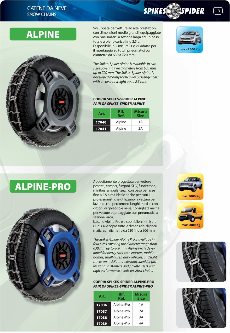 The Spikes-Spider Alpine is available in two sizes covering tyre diameters from 630 mm up to 720 mm.