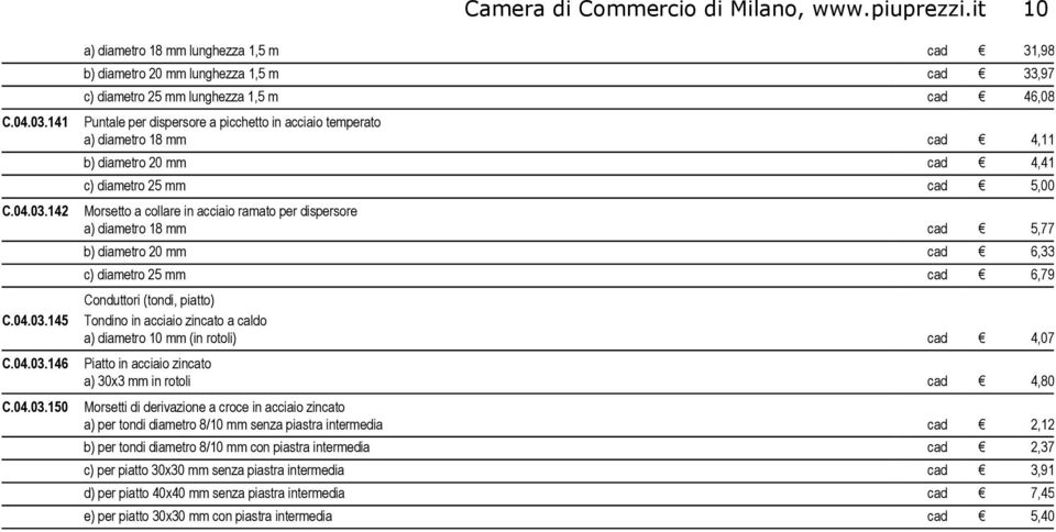 142 Morsetto a collare in acciaio ramato per dispersore a) diametro 18 mm cad 5,77 b) diametro 20 mm cad 6,33 c) diametro 25 mm cad 6,79 Conduttori (tondi, piatto) C.04.03.