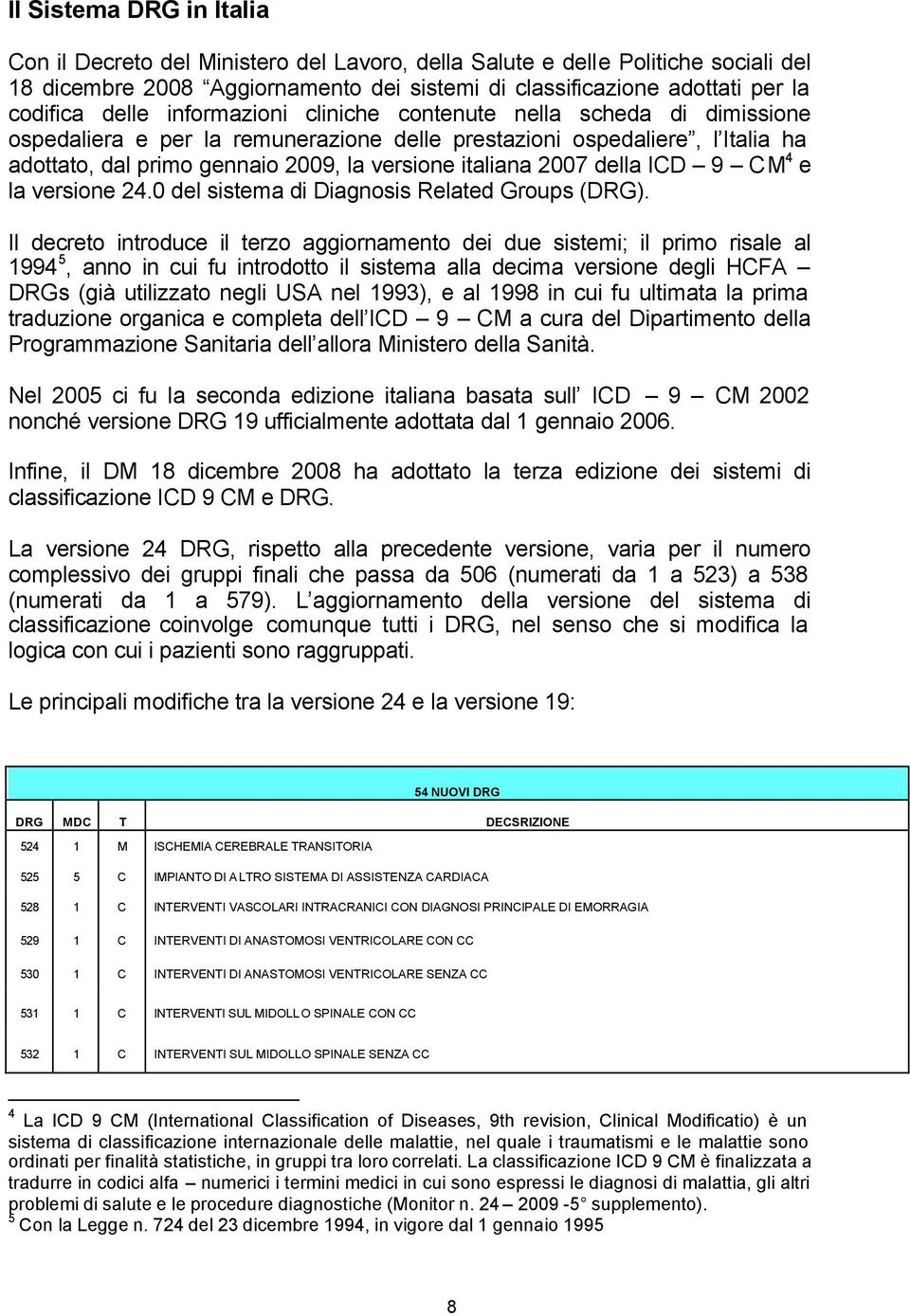 2007 della ICD 9 CM 4 e la versione 24.0 del sistema di Diagnosis Related Groups (DRG).