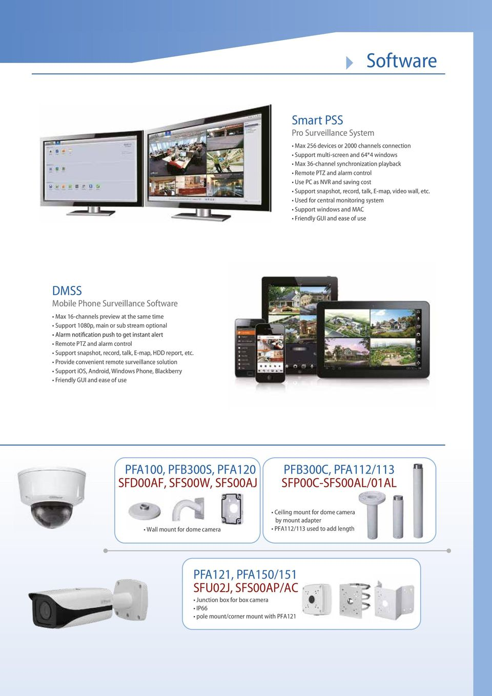 Used for central monitoring system windows and MAC Friendly GUI and ease of use DMSS Mobile Phone Surveillance Software Max 16-channels preview at the same time 1080p, main or sub stream optional