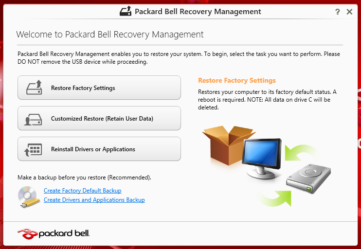 Ripristino personalizzato con Packard Bell Recovery Management 1.