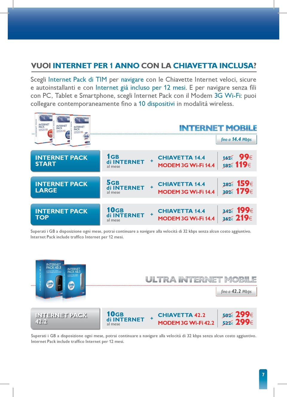 4 Mbps Internet pack start 1Gb di Internet + chiavetta 14.4 Modem 3g wi-fi 14.4 162 182 99 119 Internet pack Large 5Gb di Internet + chiavetta 14.4 Modem 3g wi-fi 14.4 282 302 159 179 Internet pack top 10Gb di Internet + chiavetta 14.