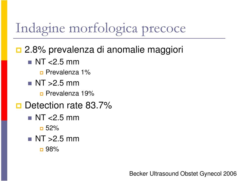 5 mm Prevalenza 1% NT >2.