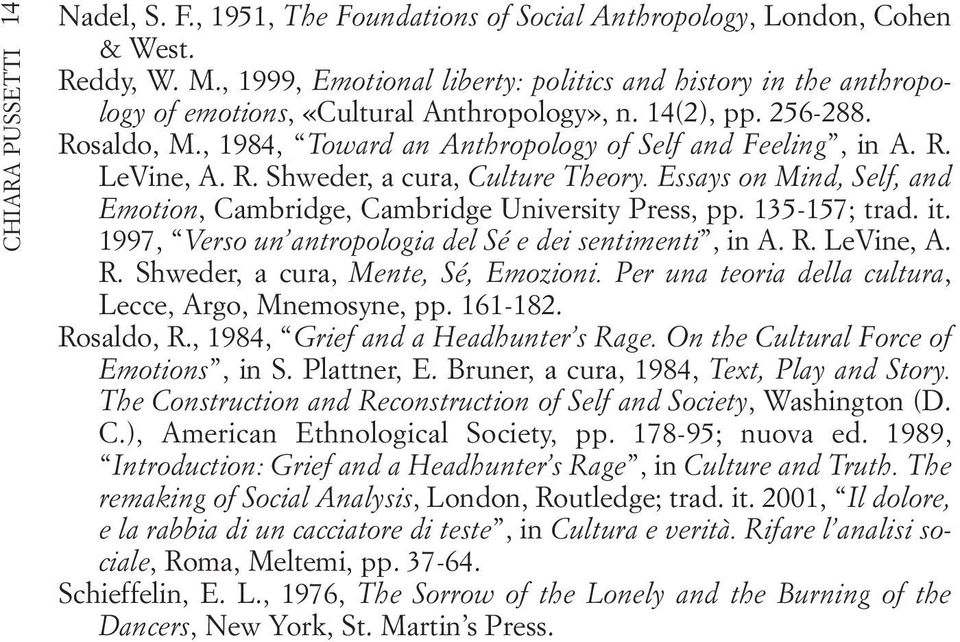 R. Shweder, a cura, Culture Theory. Essays on Mind, Self, and Emotion, Cambridge, Cambridge University Press, pp. 135-157; trad. it. 1997, Verso un antropologia del Sé e dei sentimenti, in A. R.