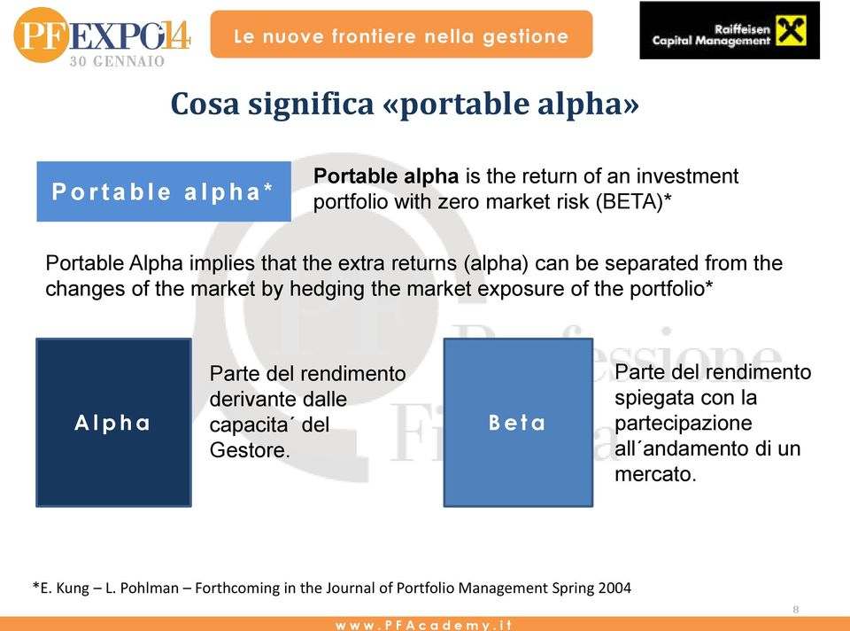 market exposure of the portfolio* Alpha Parte del rendimento derivante dalle capacita del Gestore.