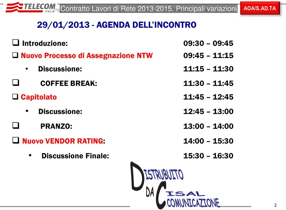 Processo di Assegnazione NTW 09:45 11:15 Discussione: 11:15 11:30 COFFEE BREAK: 11:30