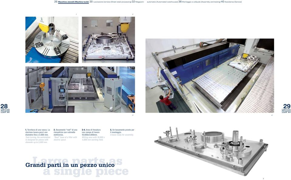Tank turning, the workstation is designed for pieces with diameter up to 3,000 mm. 2. Basamento roof di una riempitrice con rubinetto elettronico.