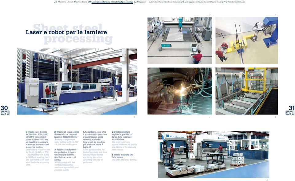 Le macchine sono servite in maniera automatica dal magazzino lamiere. Laser cutting is carried out by 3 units (6,000 4,000 2,600 Watts) with 2,000 x 4,000 mm working fields.