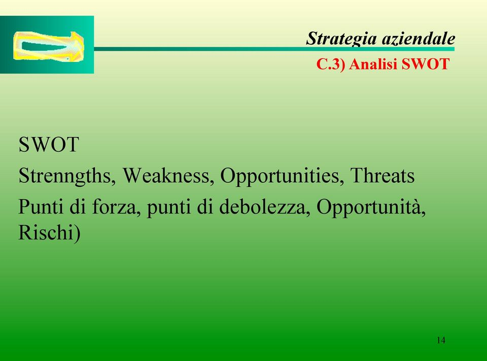 Opportunities, Threats Punti di