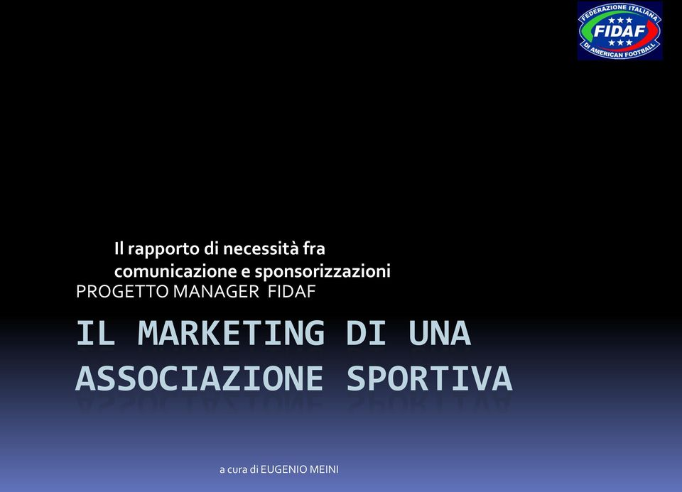 PROGETTO MANAGER FIDAF IL MARKETING