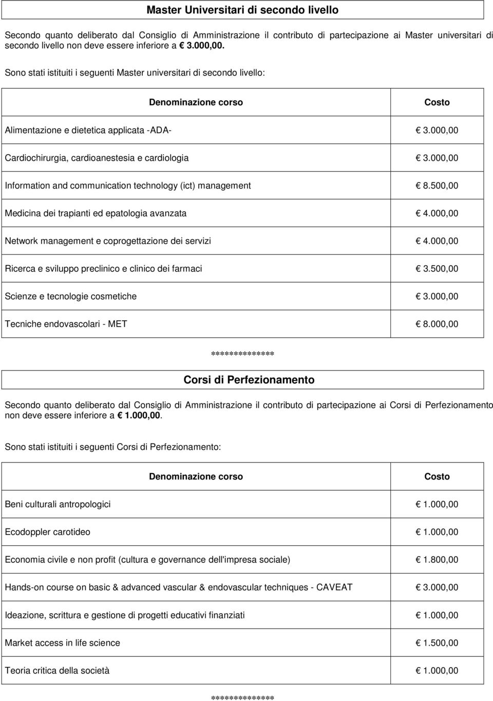 000,00 Information and communication technology (ict) management 8.500,00 Medicina dei trapianti ed epatologia avanzata 4.000,00 Network management e coprogettazione dei servizi 4.