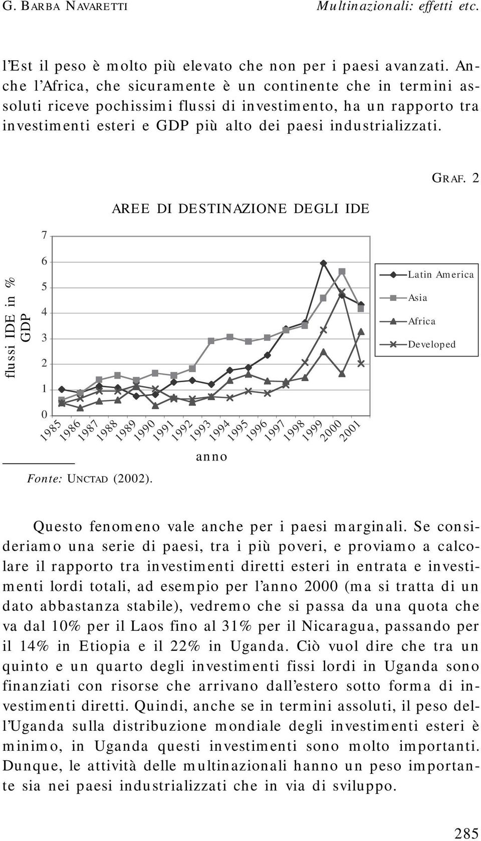 flussi IDE in % GDP 7 6 5 4 3 2 1 0 1985 1986 Fonte: UNCTAD (2002).