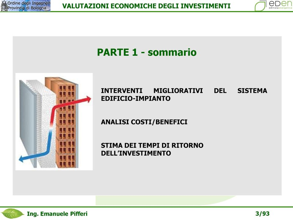 EDIFICIO-IMPIANTO ANALISI COSTI/BENEFICI