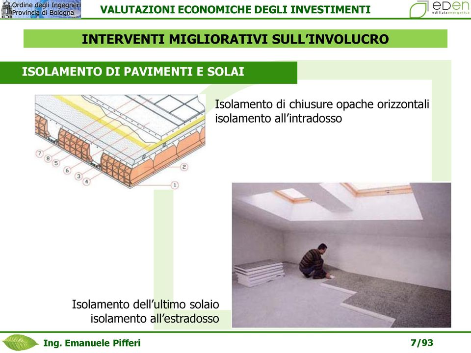 orizzontali isolamento all intradosso Isolamento dell
