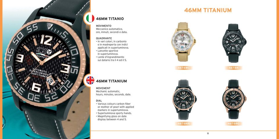 datario tra il 4 ed il 5. 46T6WC 46T8N 46MM TITANIUM Mechanic automatic, hours, minutes, seconds, date.