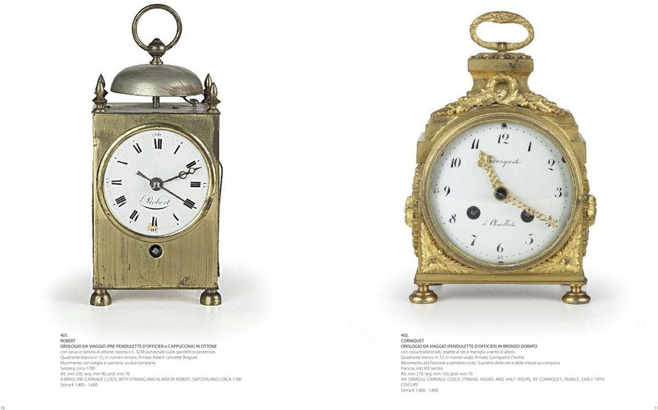 mm 70 A BRASS PRE-CARRIAGE CLOCK, WITH STRIKING AND ALARM BY ROBERT, SWITZERLAND, CIRCA 1780 Stima 1.400-1.600 402.