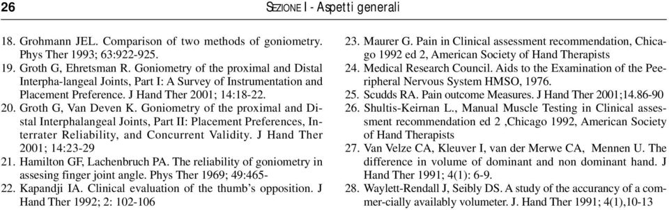 Goniometry of the proximal and Distal Interphalangeal Joints, Part II: Placement Preferences, Interrater Reliability, and Concurrent Validity. J Hand Ther 2001; 14:23-29 21.
