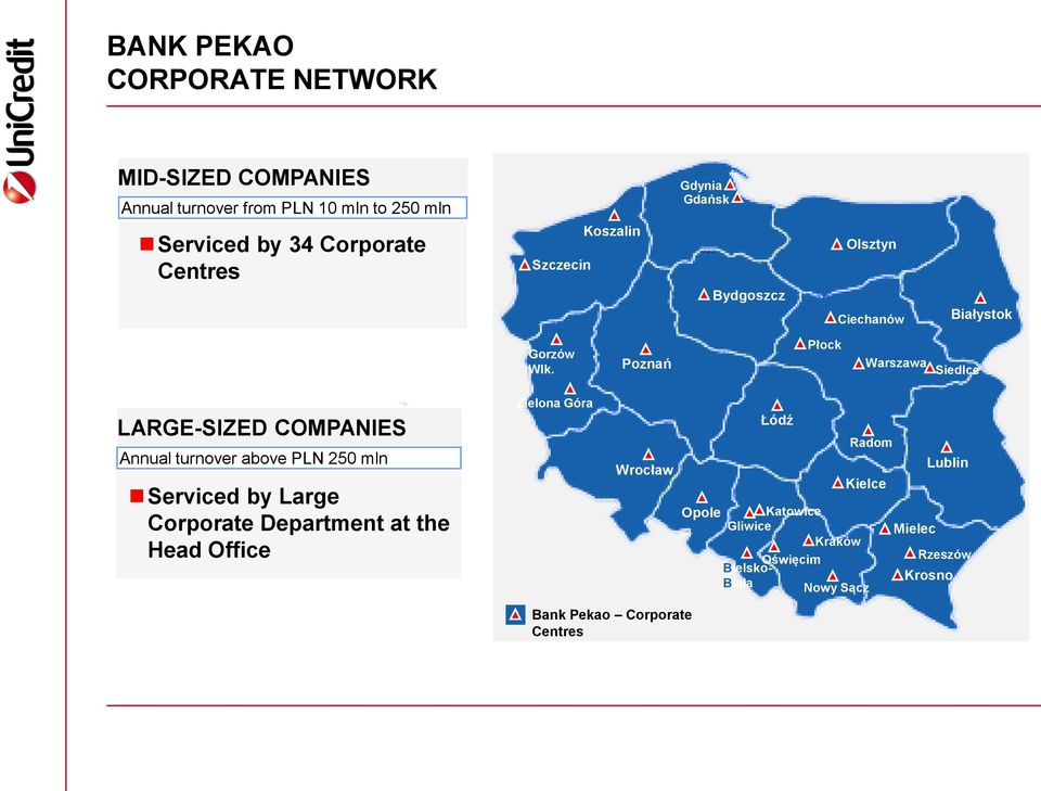 Poznań Płock Warszawa Siedlce LARGE-SIZED COMPANIES Annual turnover above PLN 250 mln Serviced by Large Corporate Department at