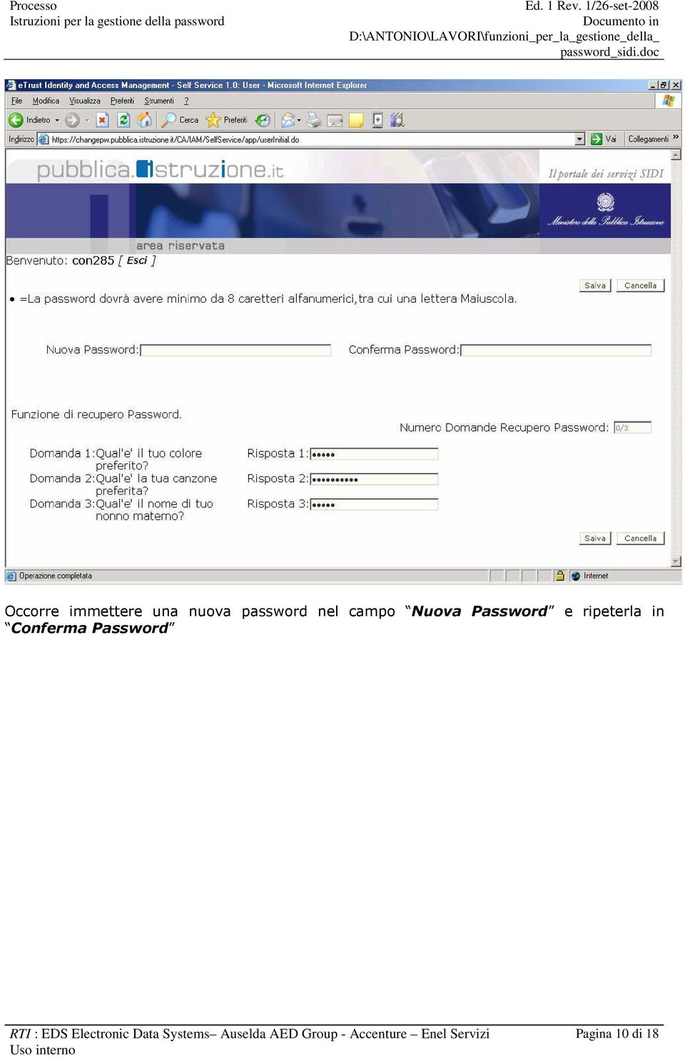 Password RTI : EDS Electronic Data Systems