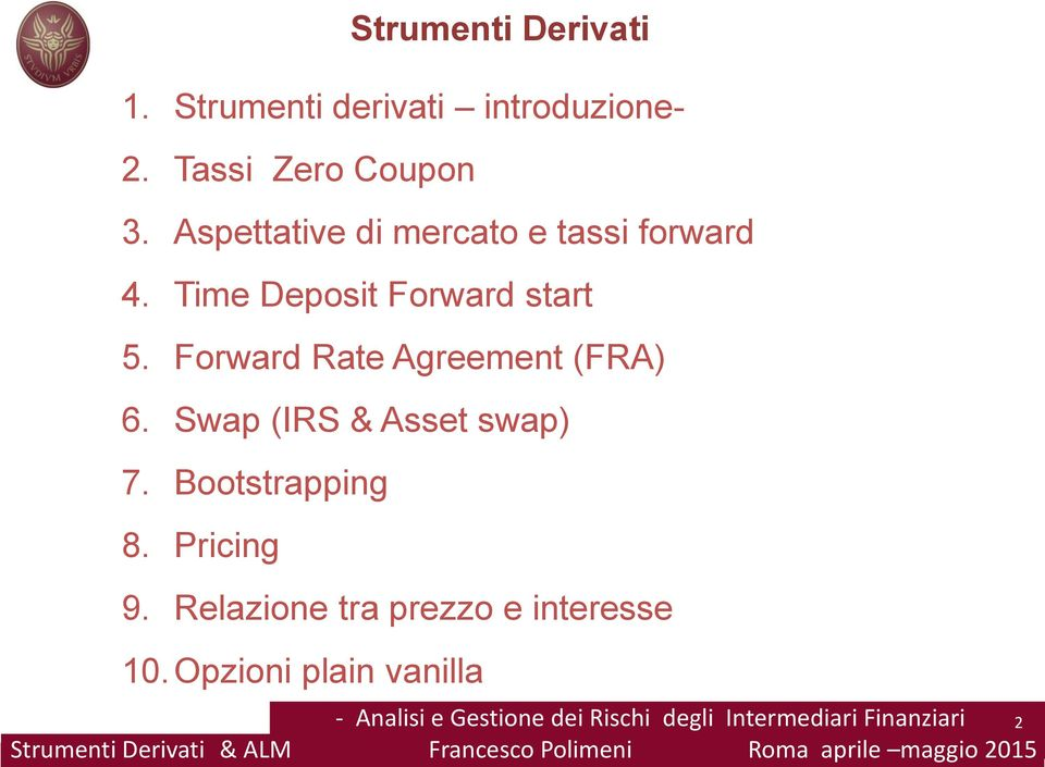 Aspettative di mercato e tassi forward 4. Time Deposit Forward start 5.