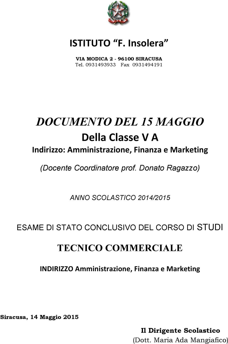 Marketing (Docente Coordinatore prof.
