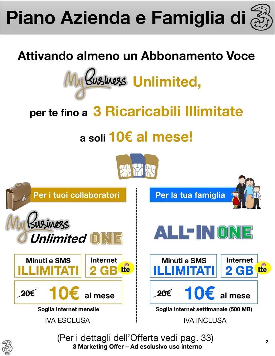 Per i tuoi collaboratori Per la tua famiglia Unlimited Minuti e SMS Internet ILLIMITATI 2 GB 20 10 al