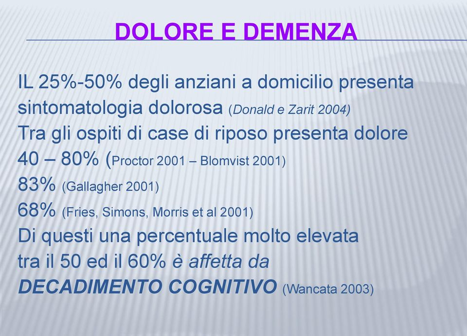2001 Blomvist 2001) 83% (Gallagher 2001) 68% (Fries, Simons, Morris et al 2001) Di questi