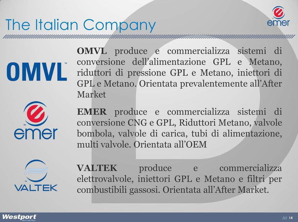 Orientata prevalentemente all After Market EMER produce e commercializza sistemi di conversione CNG e GPL, Riduttori Metano,