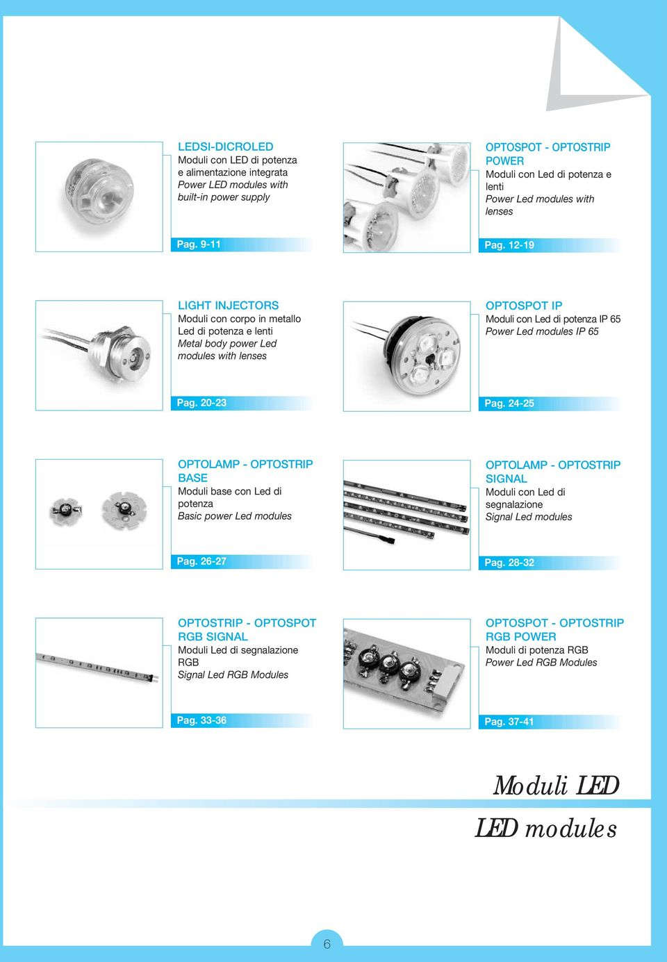 12-19 LIGHT INJECTORS Moduli con corpo in metallo Led di potenza e lenti Metal body power Led modules with lenses OPTOSPOT IP Moduli con Led di potenza IP 65 Power Led modules IP 65 Pag. 20-23 Pag.
