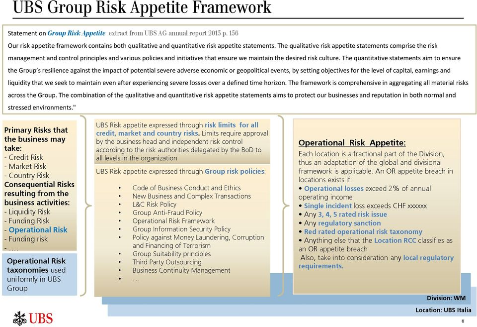 The qualitative risk appetite statements comprise the risk management and control principles and various policies and initiatives that ensure we maintain the desired risk culture.