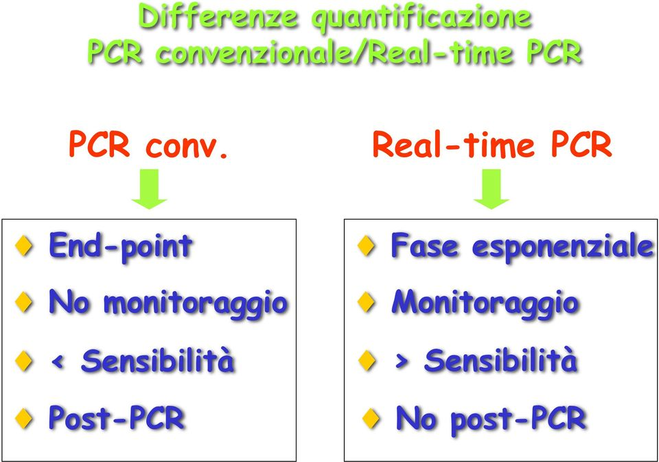 Real-time PCR End-point No monitoraggio <