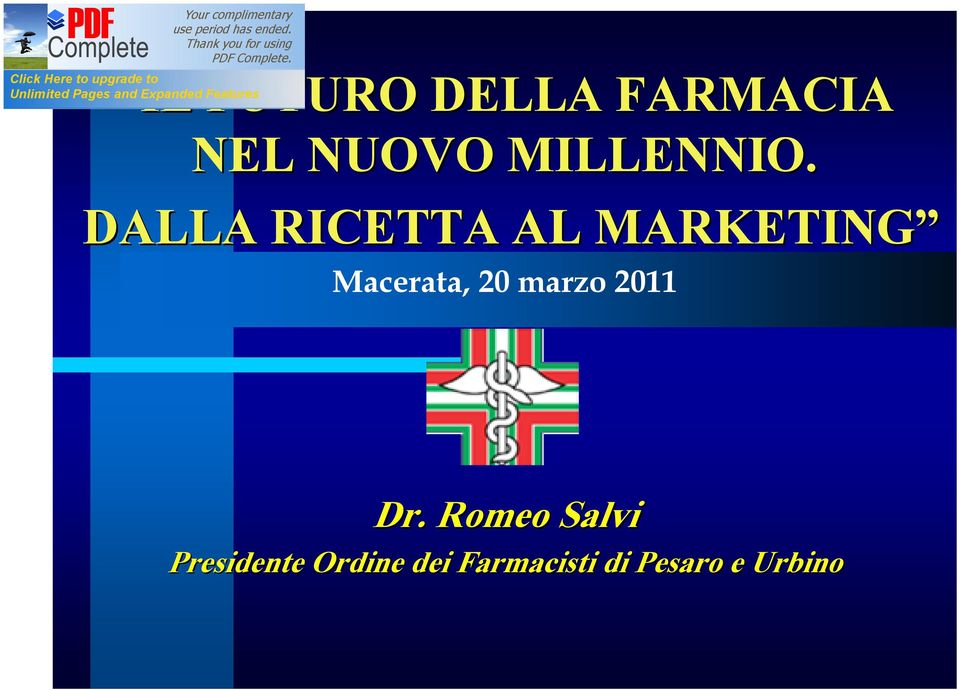 DALLA RICETTA AL MARKETING Macerata, 20