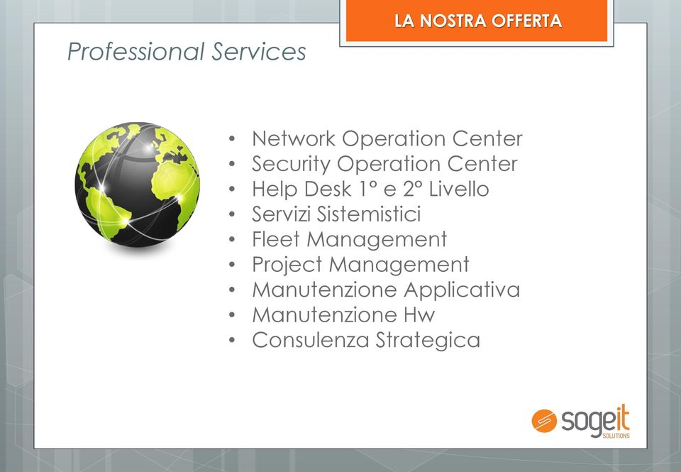 Servizi Sistemistici Fleet Management Project Management