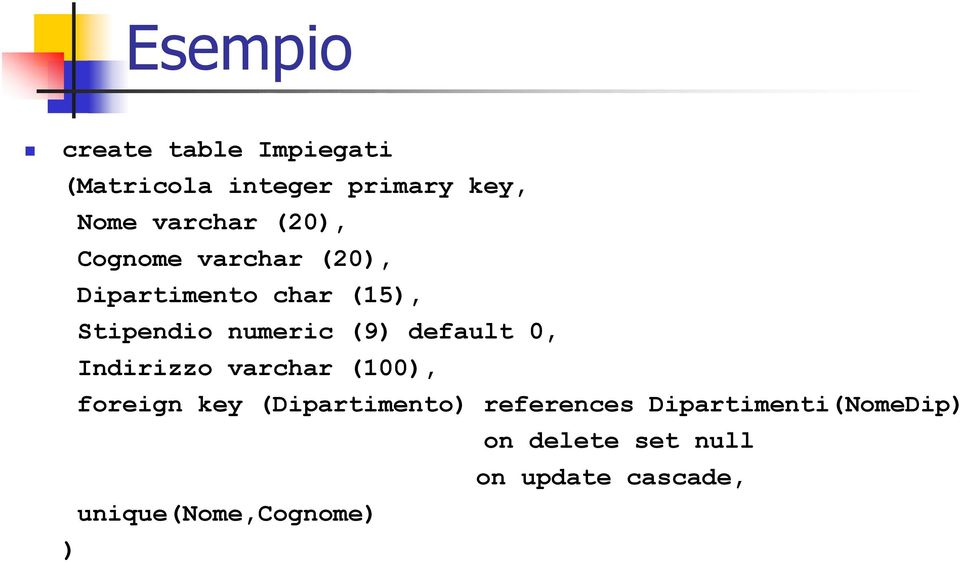 default 0, Indirizzo varchar (100), foreign key (Dipartimento) references