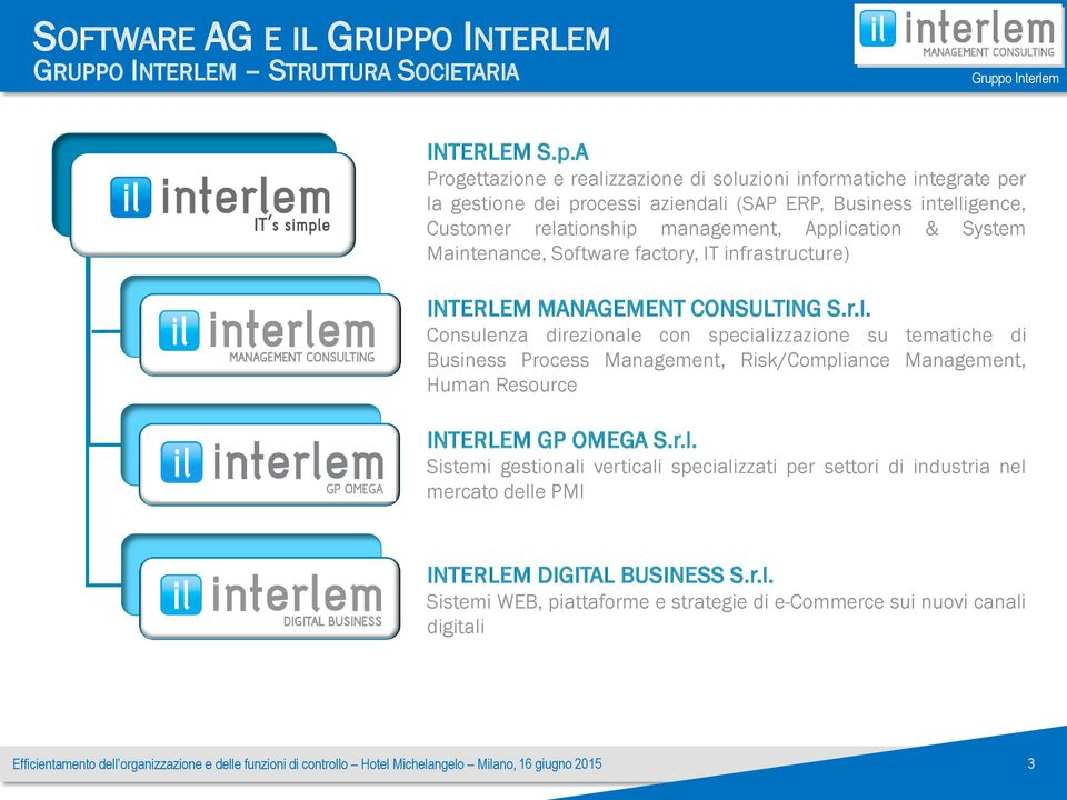 Application & System Maintenance, Software factory, IT infrastructure) INTERLEM MANAGEMENT CONSULTING S.r.l. Consulenza direzionale con specializzazione su tematiche di Business Process Management, Risk/Compliance Management, Human Resource INTERLEM GP OMEGA S.