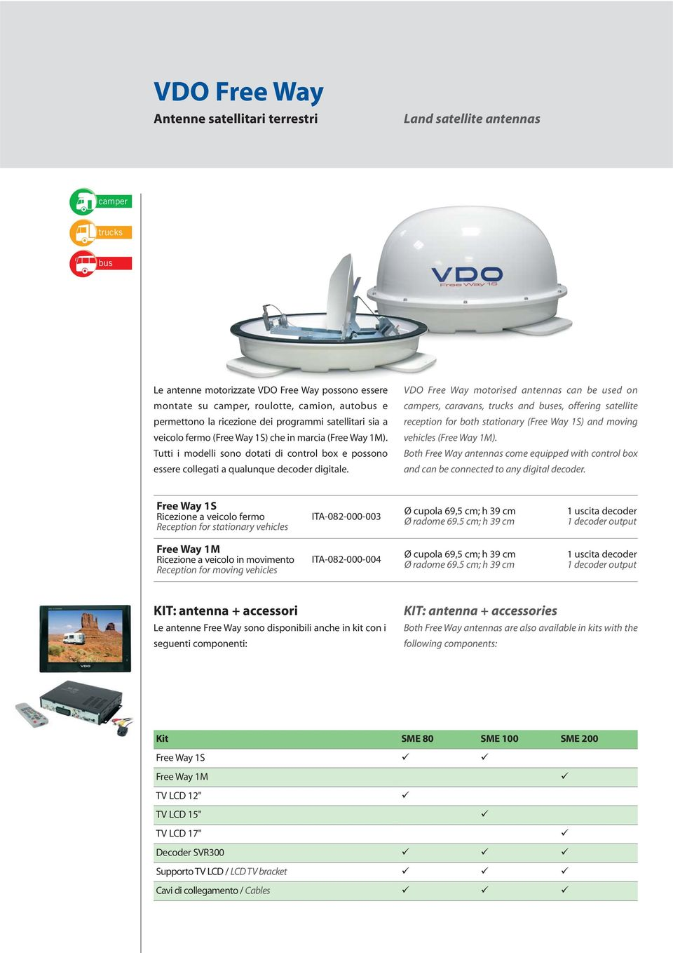 VDO Free Way motorised antennas can be used on campers, caravans, trucks and buses, offering satellite reception for both stationary (Free Way 1S) and moving vehicles (Free Way 1M).