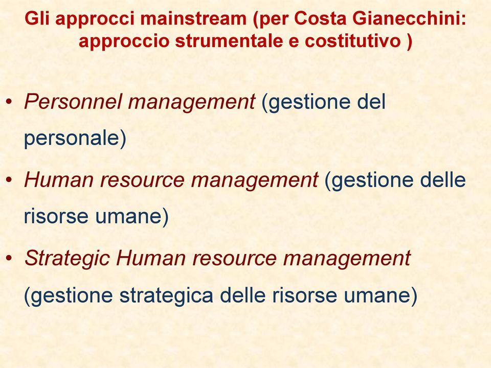 personale) Human resource management (gestione delle risorse