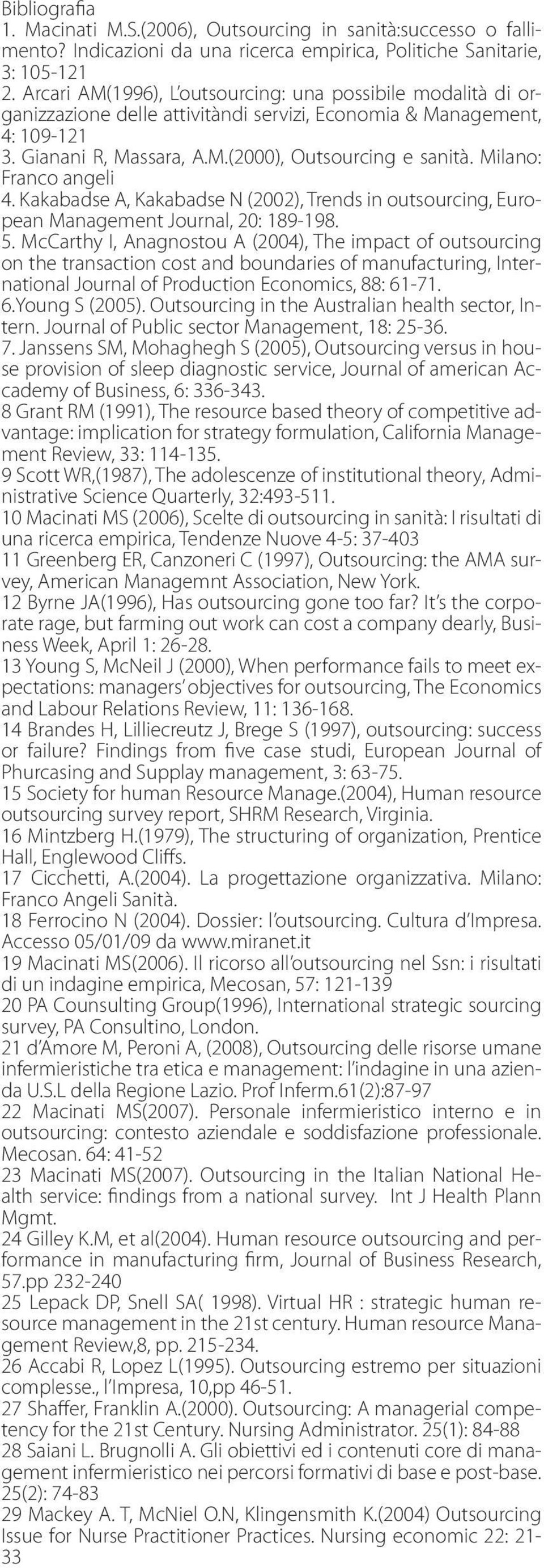 Milano: Franco angeli 4. Kakabadse A, Kakabadse N (2002), Trends in outsourcing, European Management Journal, 20: 189-198. 5.
