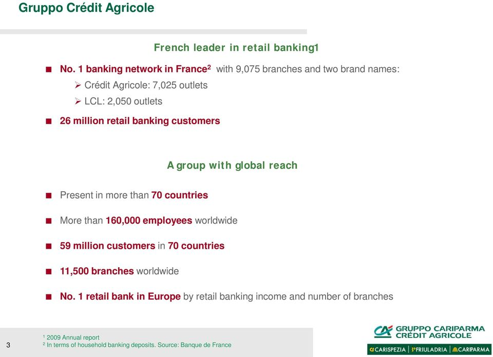 retail banking customers A group with global reach Present in more than 70 countries More than 160,000 employees worldwide 59 million