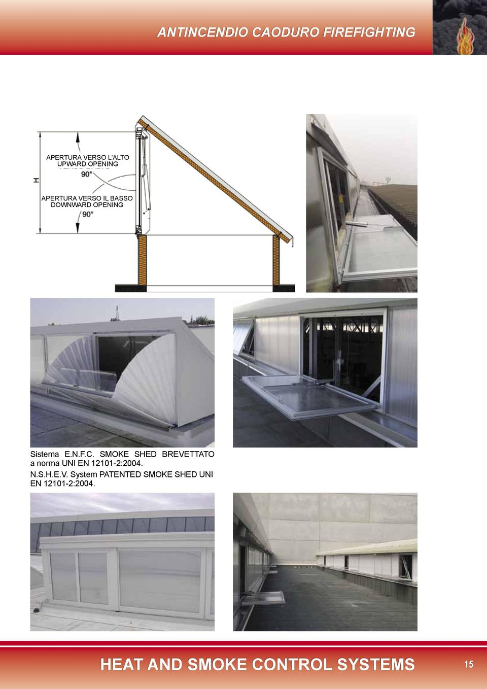 SMOKE SHED BREVETTATO a norma UNI EN 12101-2:2004. N.S.H.E.V. System PATENTED SMOKE SHED UNI EN 12101-2:2004.