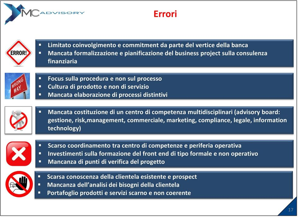 risk,management, commerciale, marketing, compliance, legale, information technology) Scarso coordinamento tra centro di competenze e periferia operativa Investimenti sulla formazione del front end di
