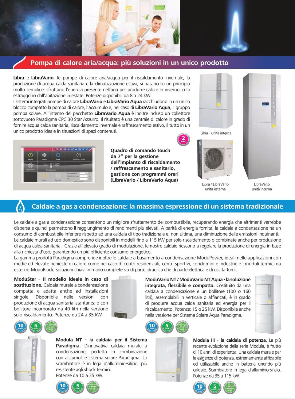Potenze disponibili da 8 a 24 kw.