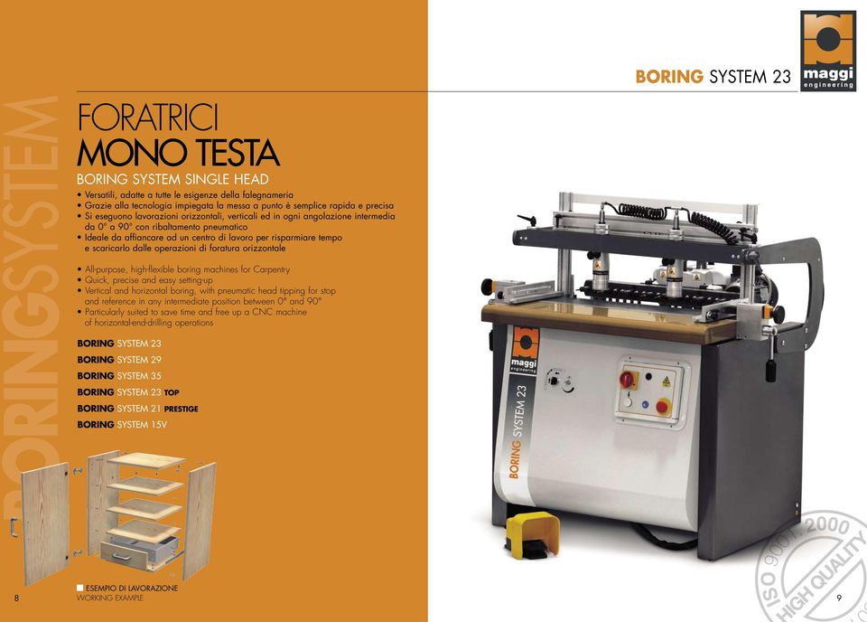 dalle operazioni di foratura orizzontale All-purpose, high-flexible boring machines for Carpentry Quick, precise and easy setting-up Vertical and horizontal boring, with pneumatic head tipping for