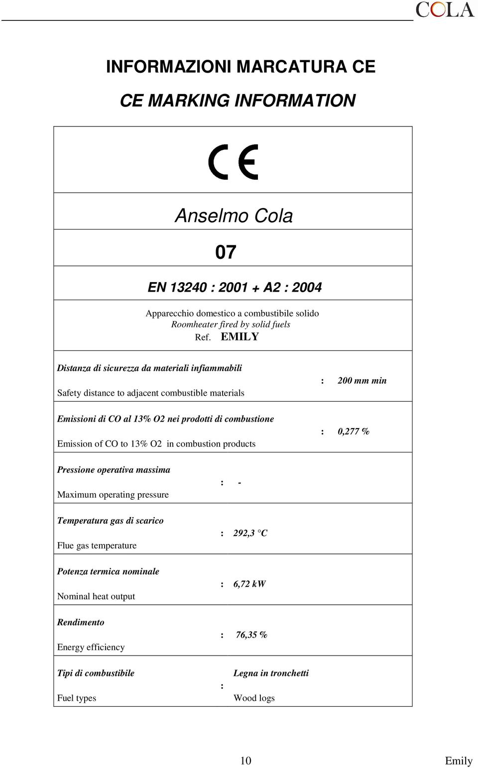 of CO to 13% O2 in combustion products : 200 mm min : 0,277 % Pressione operativa massima Maximum operating pressure Temperatura gas di scarico Flue gas temperature