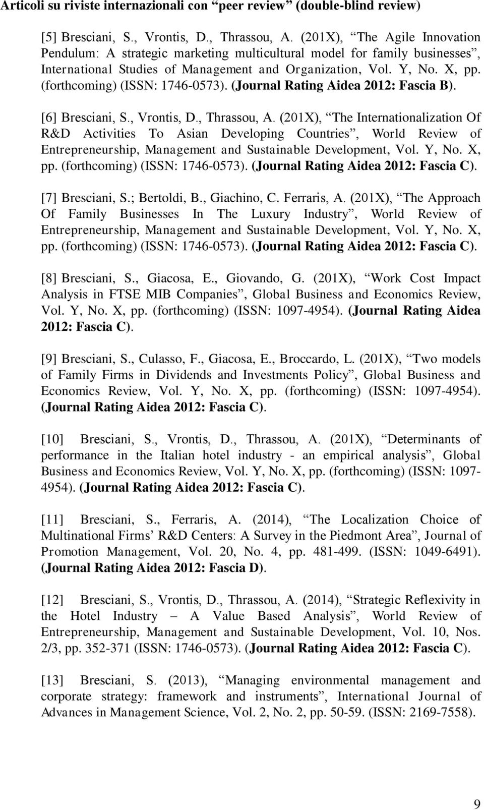 (forthcoming) (ISSN: 1746-0573). (Journal Rating Aidea 2012: Fascia B). [6] Bresciani, S., Vrontis, D., Thrassou, A.