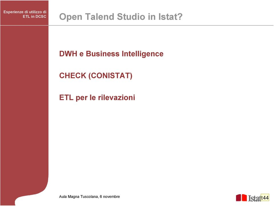 DWH e Business Intelligence CHECK