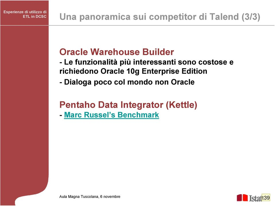 sono costose e richiedono Oracle 10g Enterprise Edition - Dialoga poco col